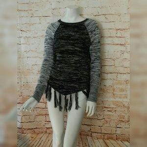 Hollister S Black White Crew Sweater Fringe Ends